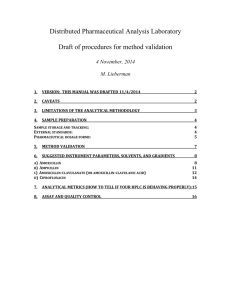 Draft of procedures for method validation