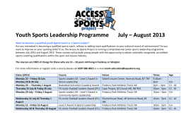 Youth Sports Leadership Programme July