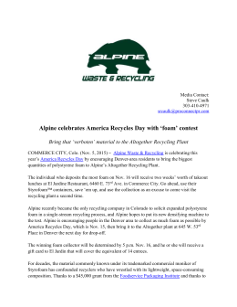 `foam` contest, Nov 5, 2015 - Alpine | Waste & Recycling