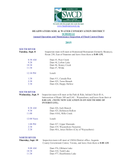 2015 Dam Inspection Schedule