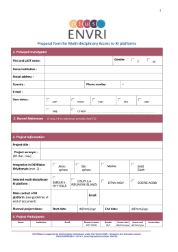 Proposal form for Multi-disciplinary Access to RI platforms