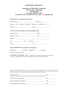 PPL Internship Agreement Form - Department of Public Policy