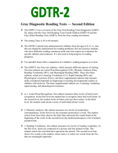 Gray Diagnostic Reading Tests — Second Edition