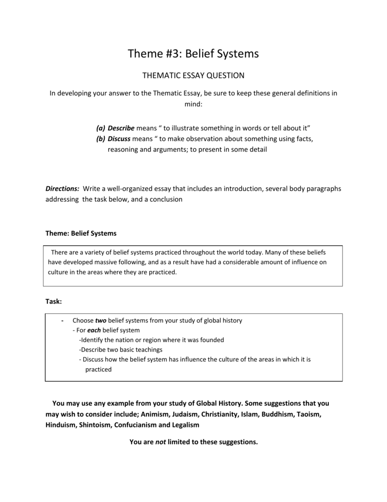 thematic essay theme belief systems