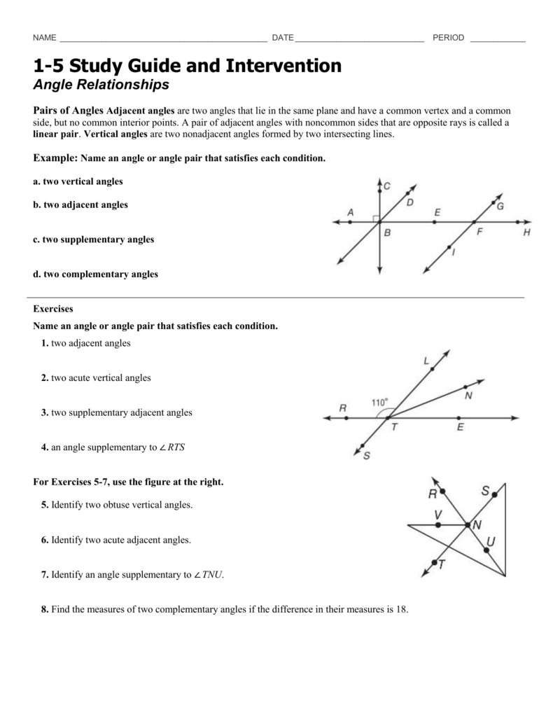 best of 1 5 angle relationships worksheet answers. Black Bedroom Furniture Sets. Home Design Ideas