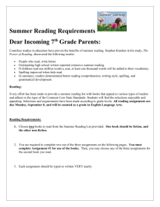 Summer Reading Requirements - St. Dominic Elementary School