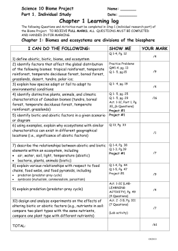 Science 10 Chapter 1 Learning Log