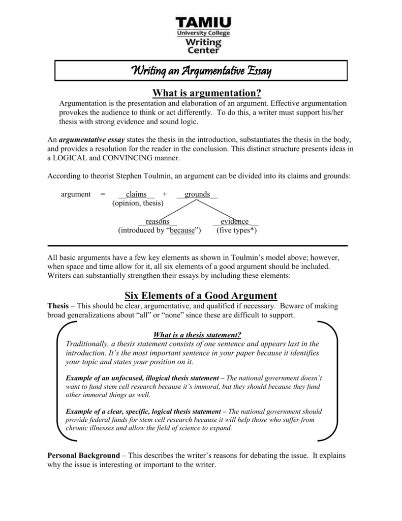 six elements of a good argument - Toulmin Analysis Essay Example