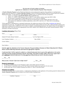 Music Teacher Education Application Form