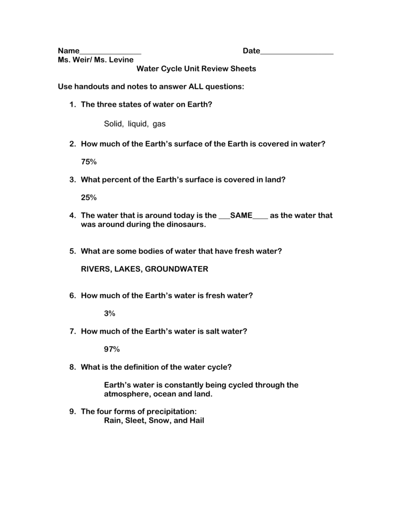 Water Cycle Review Sheet with Answers