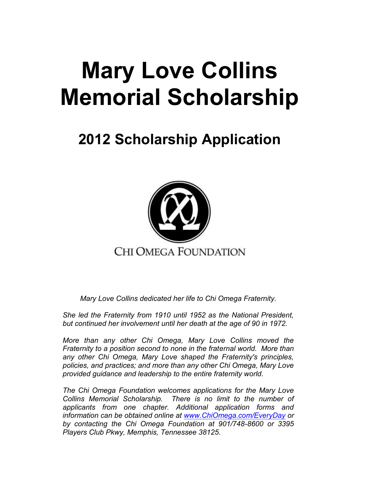 Mary Love Collins Memorial Scholarship