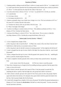 Equations of motion Worksheet.