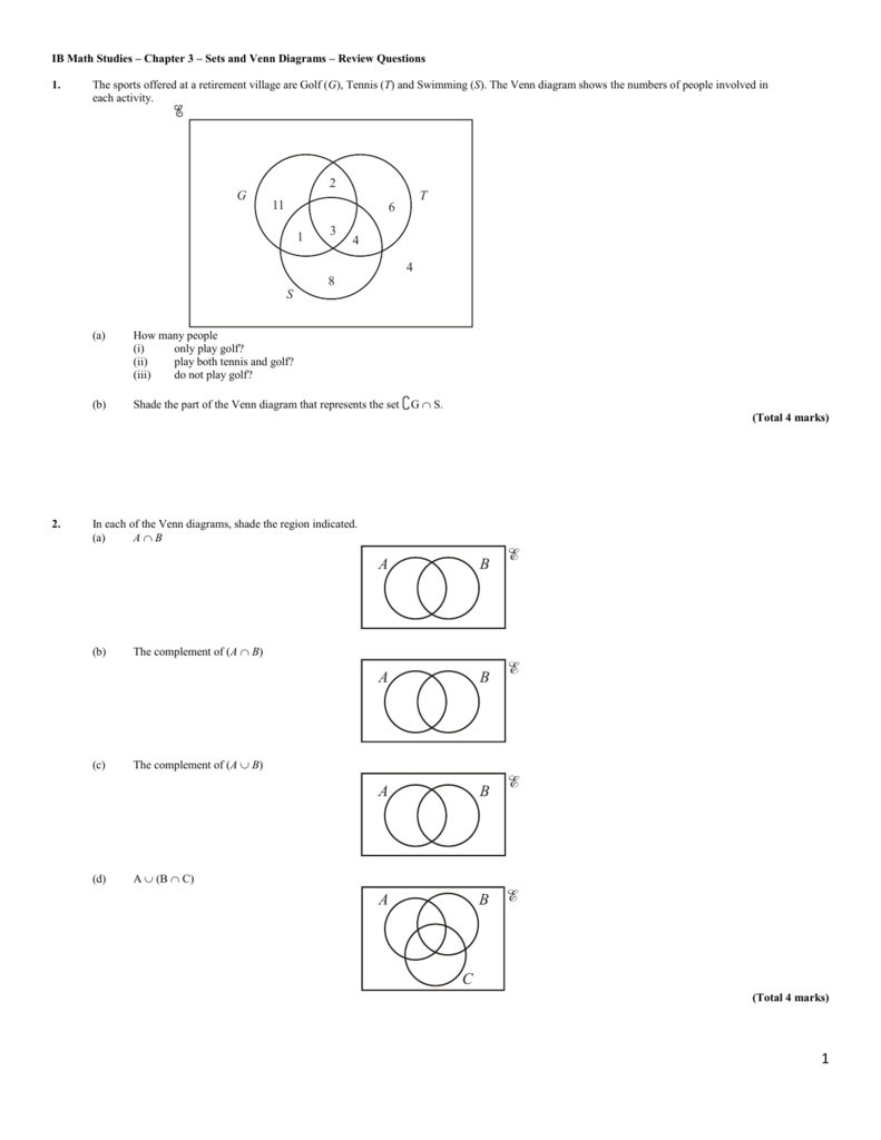 fedfc530 IB Math Studies – Chapter 3 – Sets and Venn Diagrams – Review Questions 1.  The sports offered at a retirement village are Golf (G), Tennis (T) and  Swimming ...