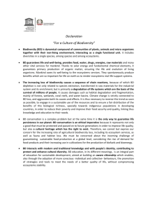 "Declaration ""For a culture of biodiversity"""