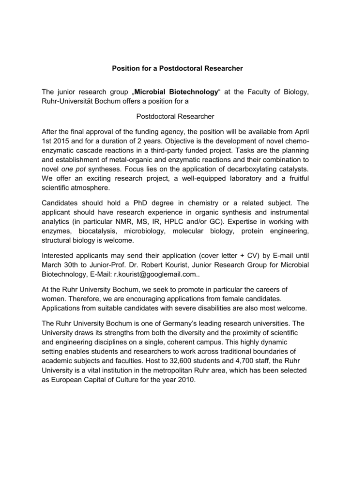 Position For A Postdoctoral Researcher Ruhr