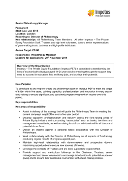 Senior Philanthropy Manager Permanent Start Date: Jan 2015