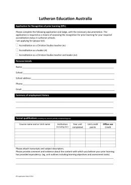 Recognition of Prior Learning (RPL) application form