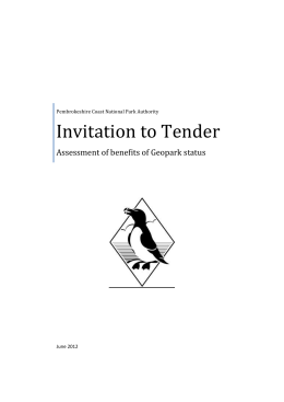 Geopark Tender - Pembrokeshire Coast National Park