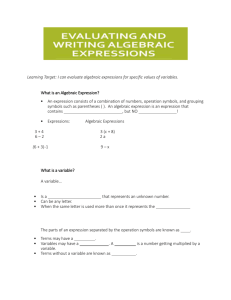 Evaluating and writing expressions Guided Notes