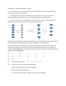 AP Chemistry – Chapter 3 Assignment – Answers 1. a. The reaction