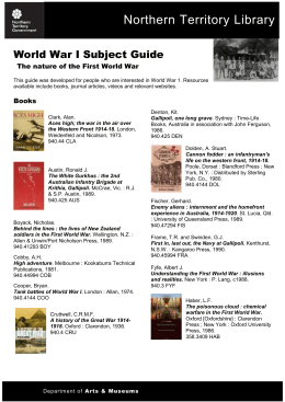 World War I Subject Guide - Department of Arts and Museums