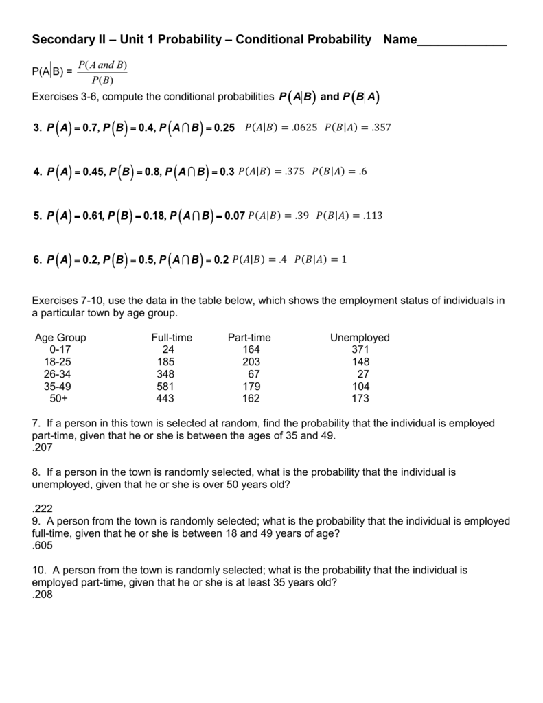 Solutions Conditional Probability Homework