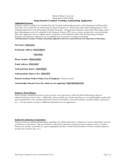 Kinesiology Graduate Teaching Assistantship Application