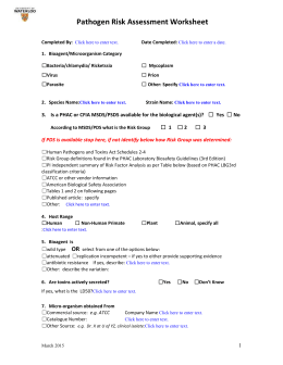 Pathogen Risk Assessment Worksheet