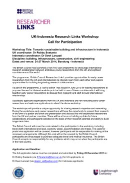 UK-Indonesia Research Links Workshop Call for