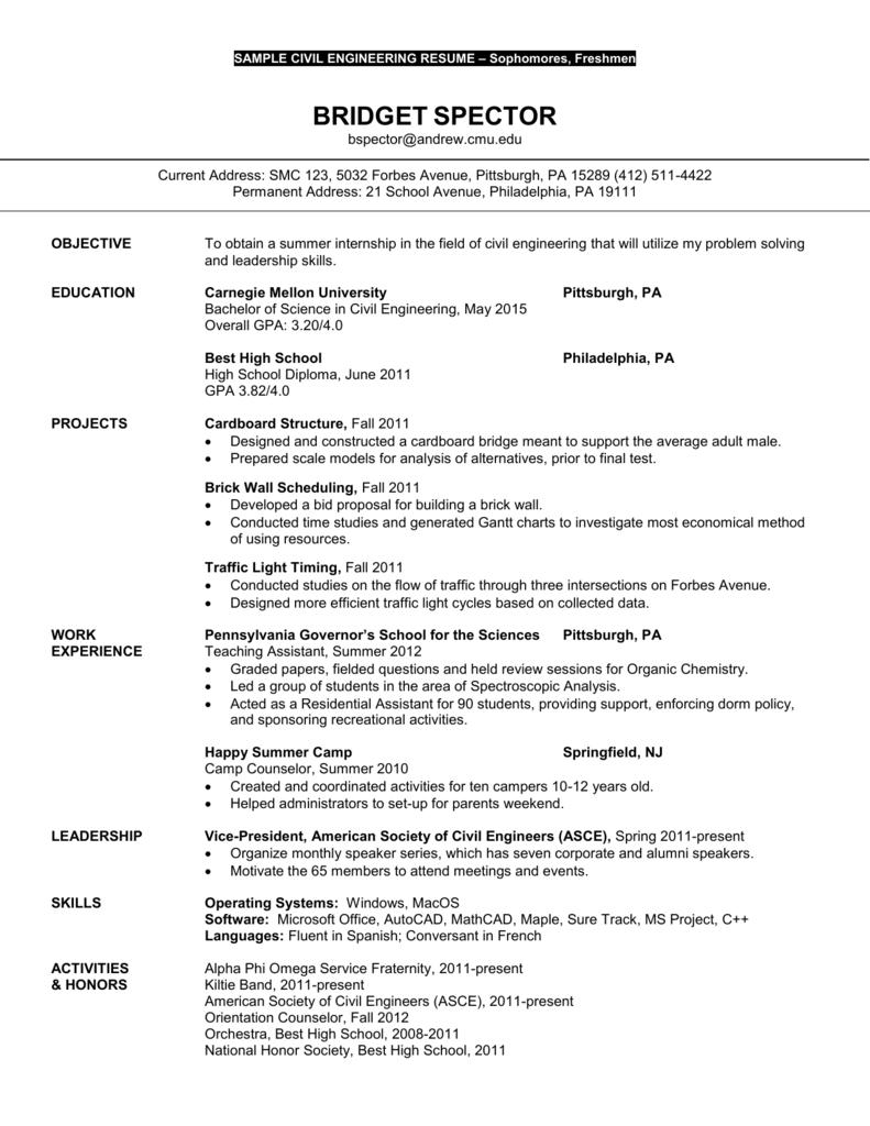 Sample Civil Environmental Engineering Resume