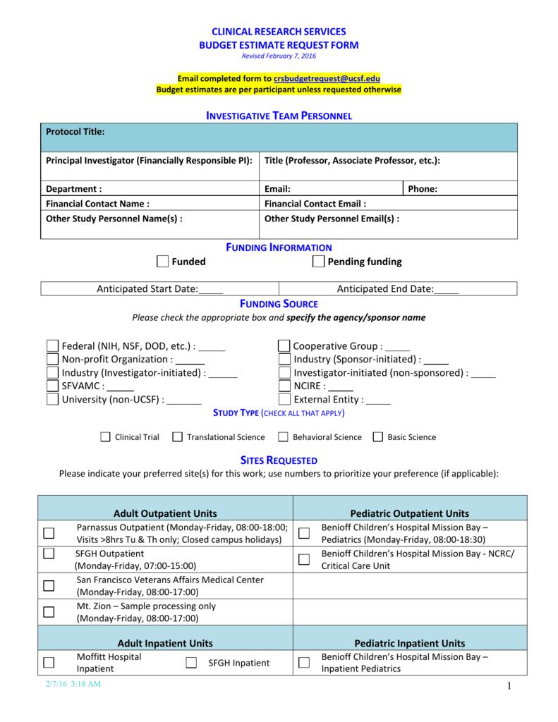budget estimate request form