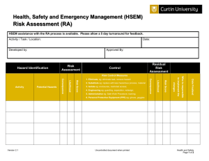 Risk Assessment - Health, Safety and Emergency Management
