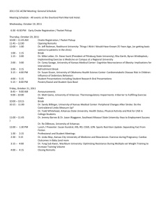 2011 CSC-ACSM Meeting: General Schedule Meeting Schedule
