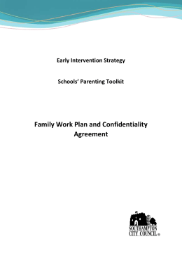 Sample Family Contract and Confidentiality Agreement