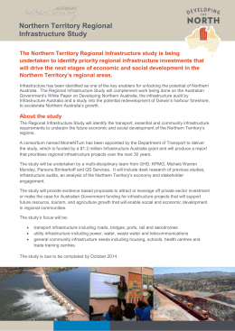 Northern Territory Regional Infrastructure Study