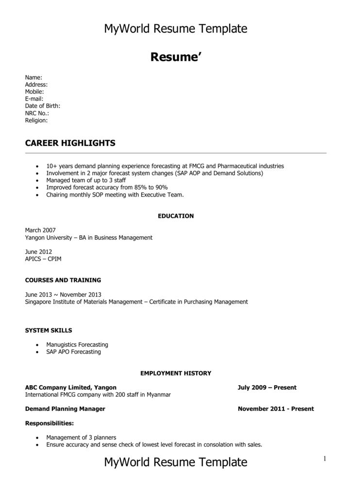 MyWorld Resume Template