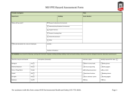 PPE Laboratory Hazard Assessment Form