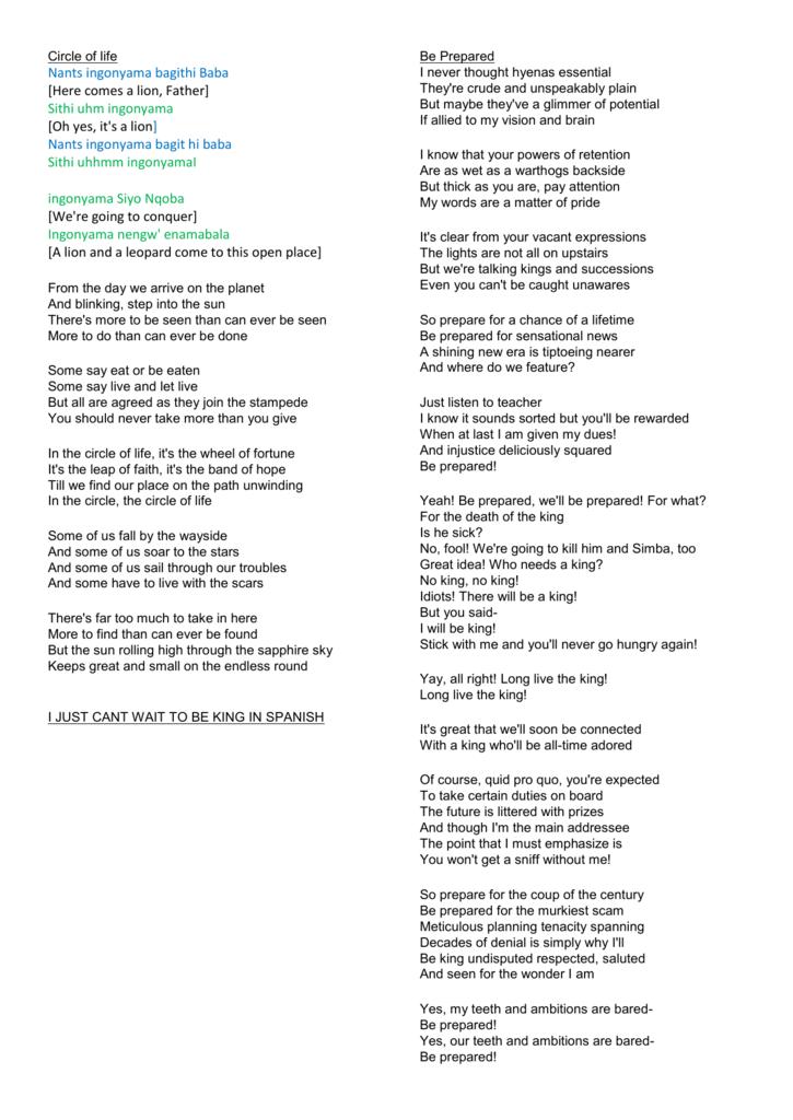 Lion King lyrics - PE