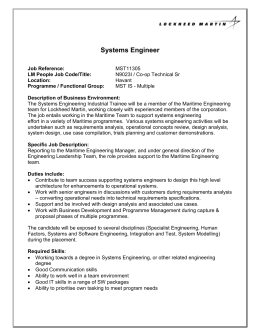 Systems Engineer - Lockheed Martin