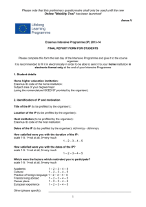 Narrative report from Erasmus placement student to institution