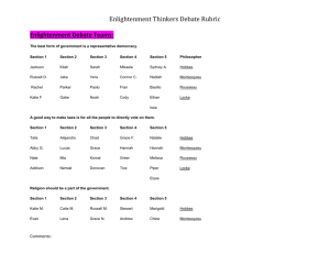 Enlightenment Thinkers Debate Rubric