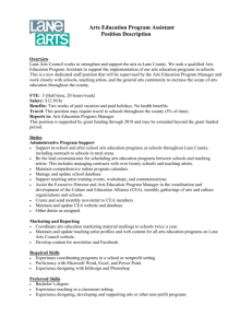 Arts Education Program Assistant Position Description
