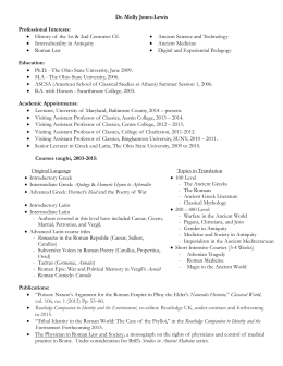Dr. Jones-Lewis` CV - Ancient Studies