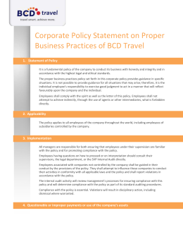 Corporate Policy Statement on Proper Business Practices of BCD