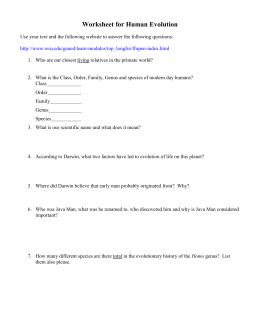 Worksheet for Human Evolution
