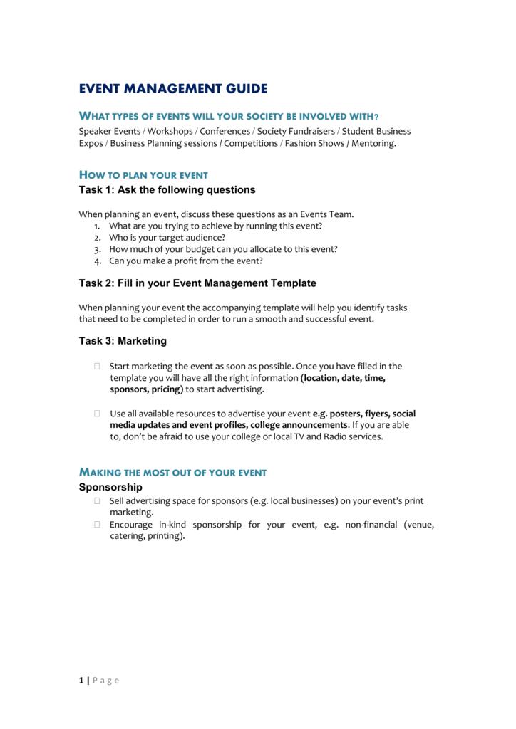 PDF Events 2 - Event Management Guide