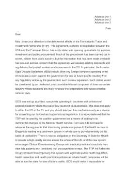 Template letter to MEP re TTIP