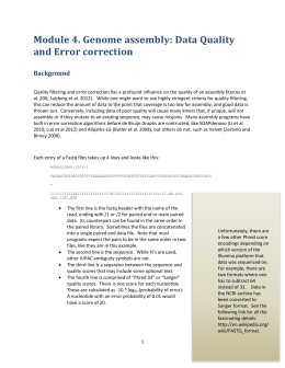 Genome assembly: Data Quality and Error correction