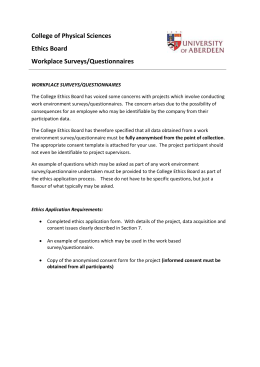 Workplace Surveys/Questionnaires
