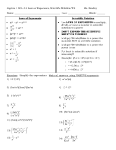 Algebra 1 SOL A.2 Laws of Exponents, Scientific Notation WS Ms